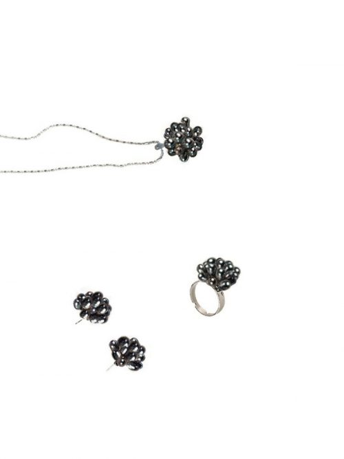 ALOHA COLLECTION BLACK PEARL PENDANT RING AND EARRING SET