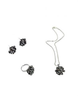 PACIFIC PEARLS ALOHA COLLECTION Ink Pearl Pendant, Ring, and Earring Set