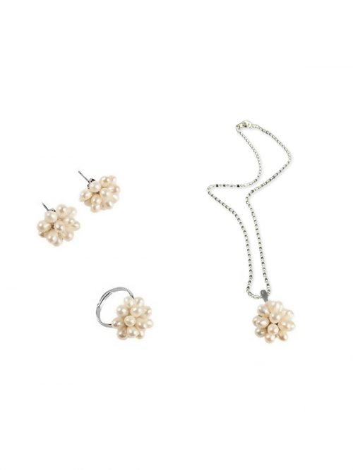 PACIFIC PEARLS ALOHA COLLECTION Moonflower Pearl Pendant, Ring, and Earring Set