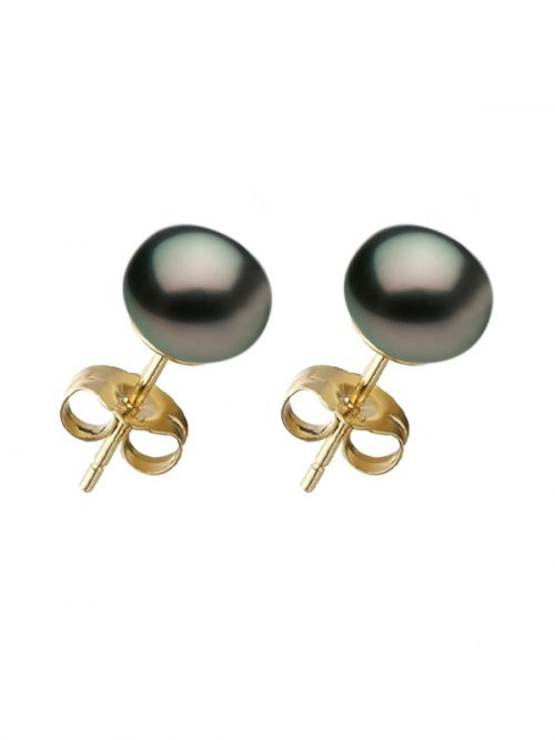 PACIFIC PEARLS BORA BORA COLLECTION Black Pearl Stud Earrings on 14K Yellow Gold Filled Posts