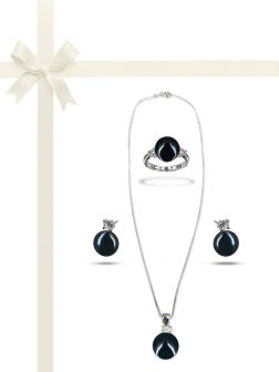 PACIFIC PEARLS BORA BORA COLLECTION Black Pearl Three-Piece Diamond Jewelry Gift Set