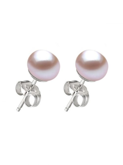 PACIFIC PEARLS BORA BORA COLLECTION Lilac Pearl Stud Earrings on 14K White Gold Filled Posts