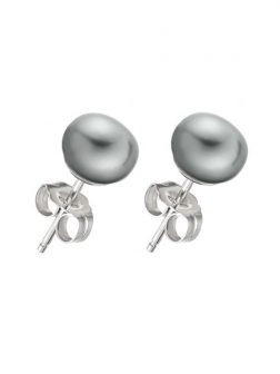 PACIFIC PEARLS BORA BORA COLLECTION Silver-Gray Pearl Stud Earrings on 14K White Gold Filled Posts
