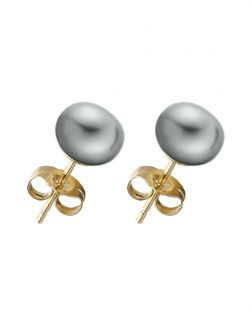PACIFIC PEARLS BORA BORA COLLECTION Silver-Gray Pearl Stud Earrings on 14K Yellow Gold Filled Posts