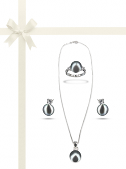 PACIFIC PEARLS BORA BORA COLLECTION Silver-Gray Pearl Three-Piece Diamond Jewelry Gift Set