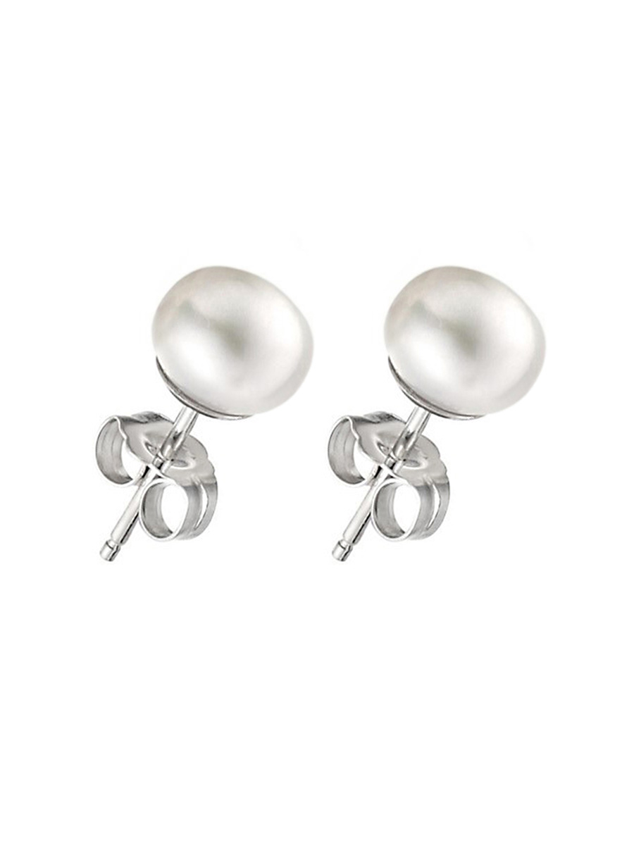 PACIFIC PEARLS BORA BORA COLLECTION White Pearl Stud Earrings on 14K White Gold Filled Posts