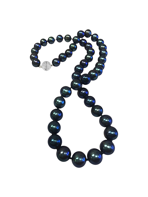 PACIFIC PEARLS BUA BAY COLLECTION Black 7-8mm Pearl Necklace