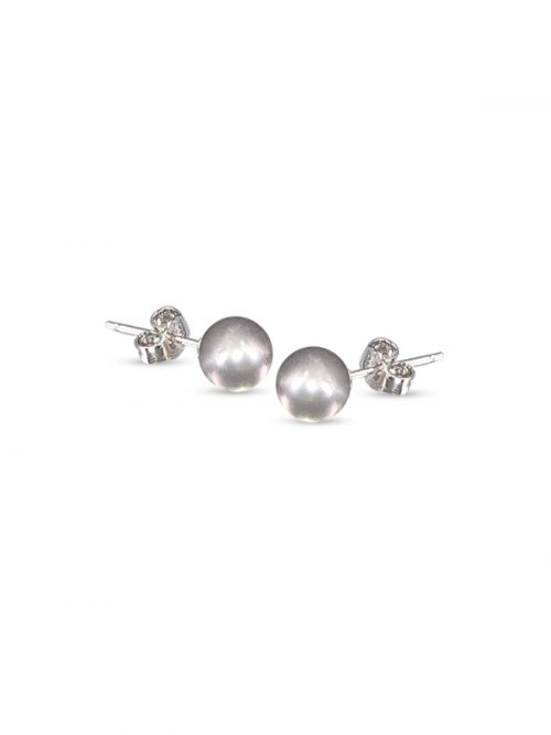PACIFIC PEARLS BUA BAY COLLECTION Silver-Gray 7mm Pearl Stud Earrings