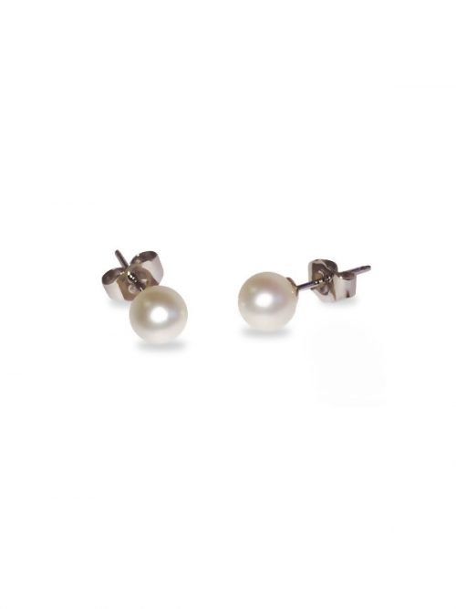 PACIFIC PEARLS BUA BAY COLLECTION White 5mm Round Pearl Stud Earrings