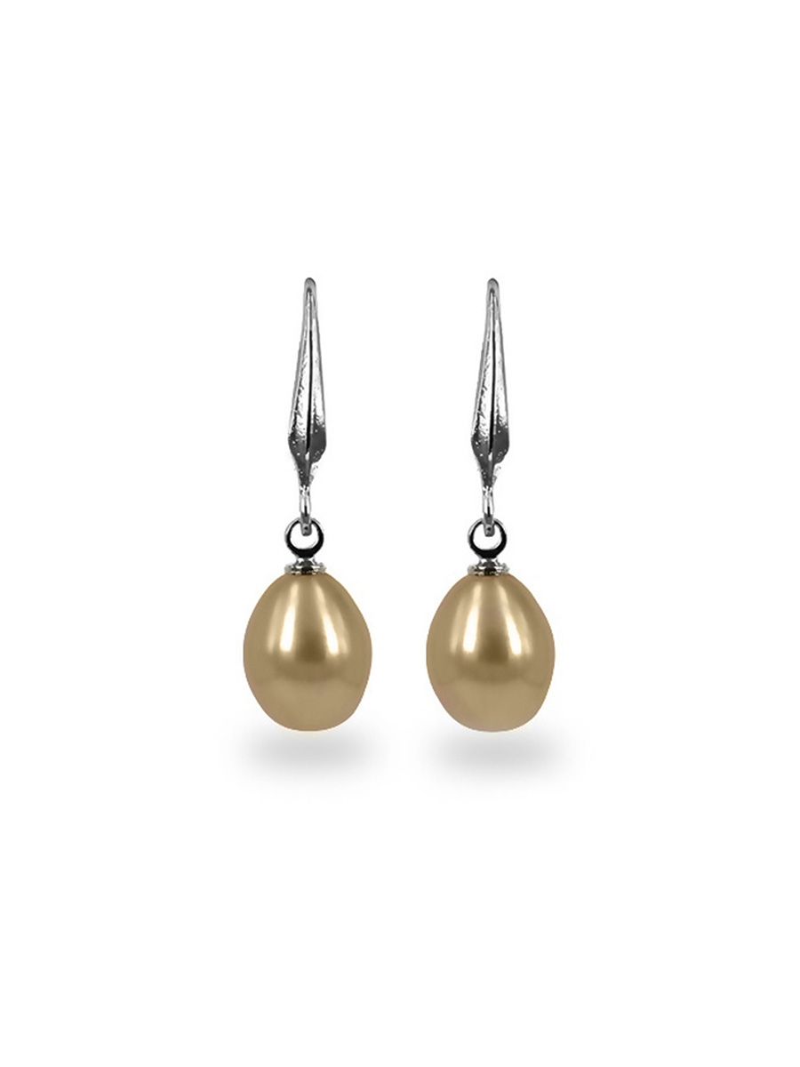 PACIFIC PEARLS KIRIBATI COLLECTION Peach 9-10mm Pearl Drop Earrings