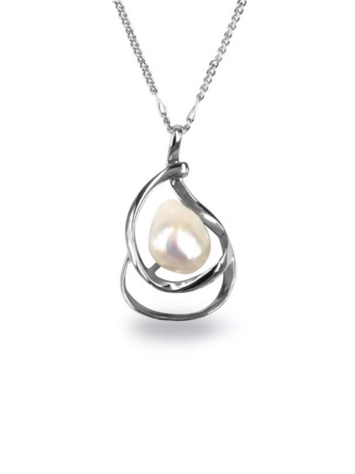 PACIFIC PEARLS KIRIBATI-COLLECTION-White-15-18mm-Baroque-Pearl-Pendant