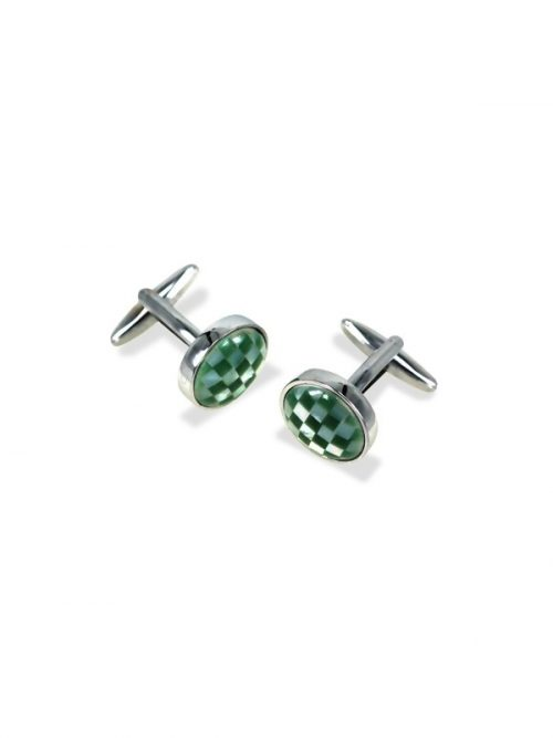 KON-TIKI COLLECTION GREEN AND WHITE MOTHER-OF-PEARL CUFFLINKS