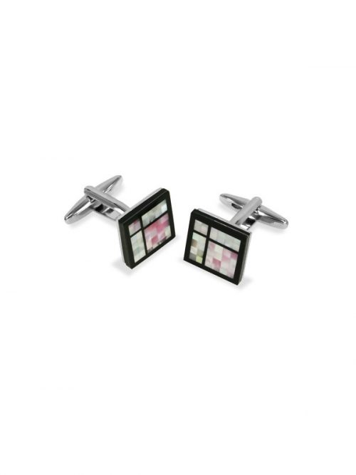 KON-TIKI COLLECTION PINK AND WHITE MOTHER-OF-PEARL CUFFLINKS