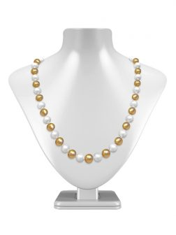 PACIFIC PEARLS MARIA-THERESA REEF COLLECTION Champagne & White 9-10mm Pearl Necklace