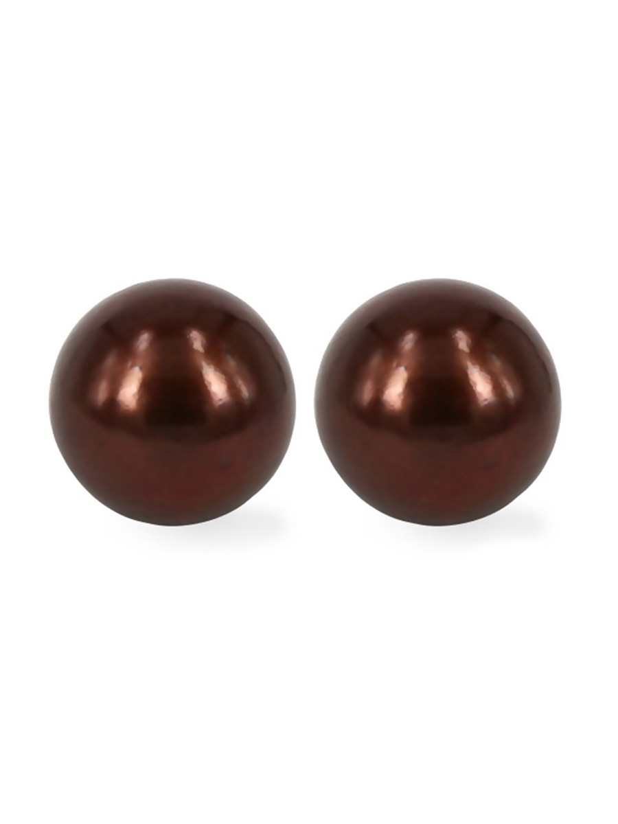 Maria Theresa Reef Collection Chocolate 9mm Pearl Stud