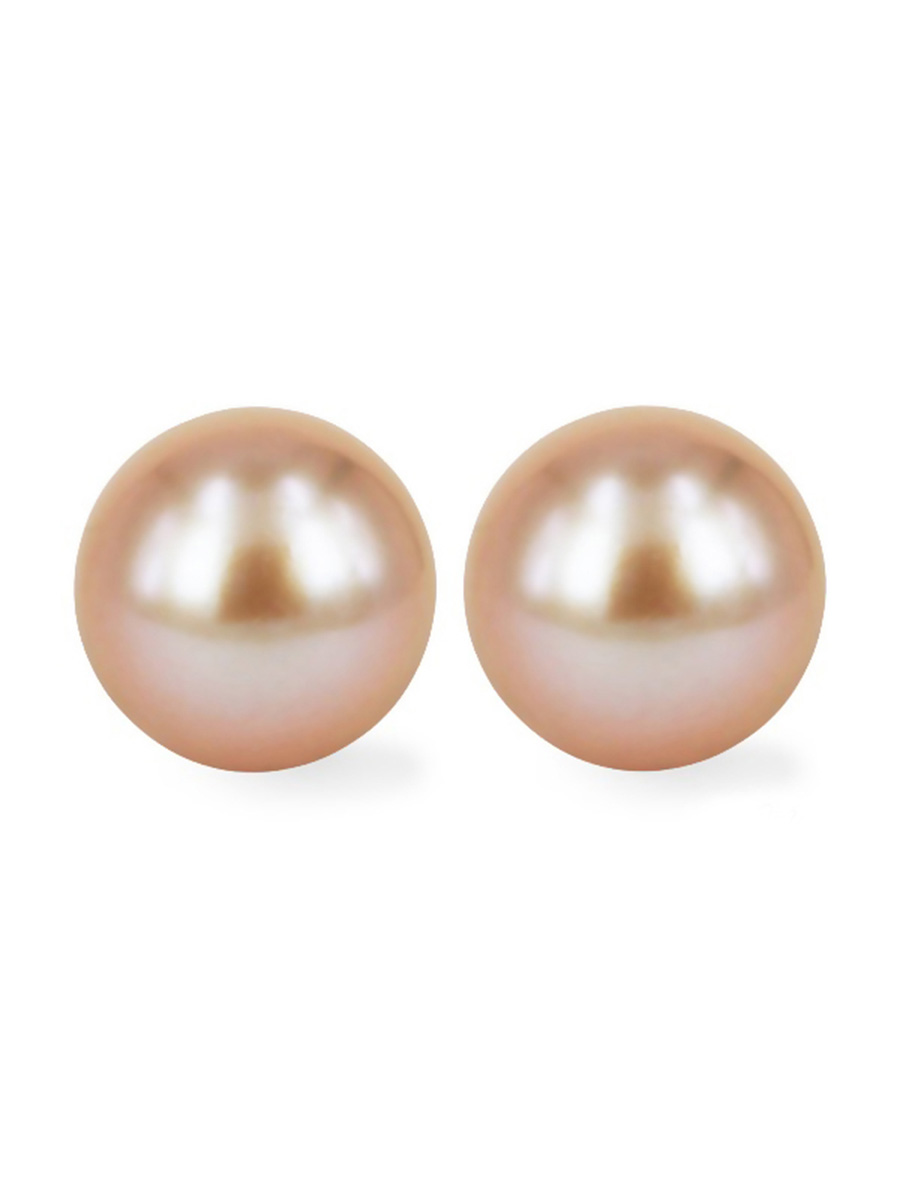 exclusive pink pearl set in peach long colour pearls pure shiny lines