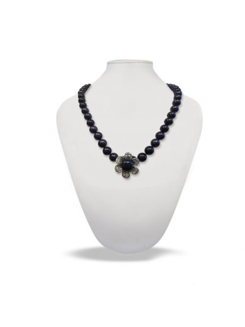 PACIFIC PEARLS PALLISER LAGOON COLLECTION Black Diamond Encrusted Pearl Pendant and Necklace Enhancer
