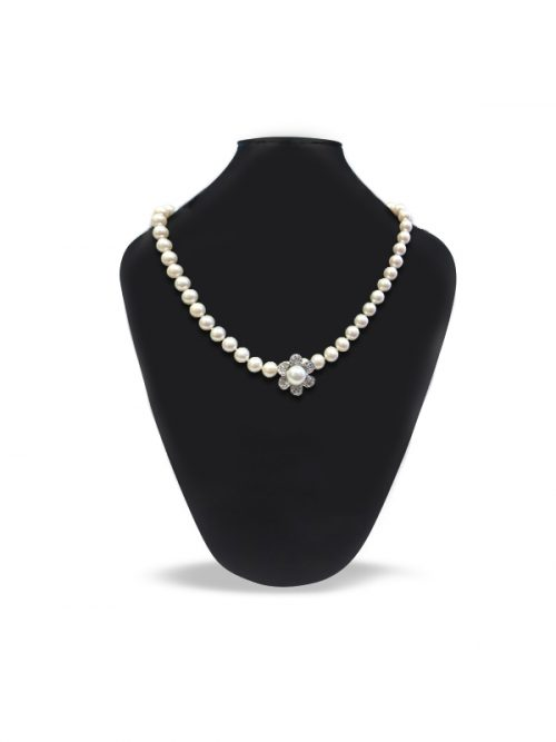 PACIFIC PEARLS PALLISER LAGOON COLLECTION White Diamond Encrusted Pearl Pendant and Necklace Enhancer