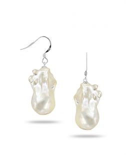 PACIFIC PEARLS POLYNESIA COLLECTION White 20mm Giant Baroque Pearl Earrings on 18K White Gold