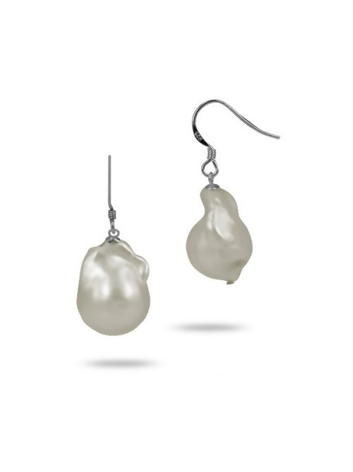 PACIFIC PEARLS POLYNESIA COLLECTION White 25mm Giant Baroque Pearl Earrings