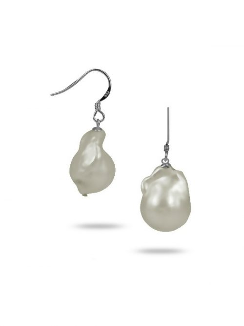 POLYNESIA COLLECTION White 25mm Giant Baroque Pearl Earrings