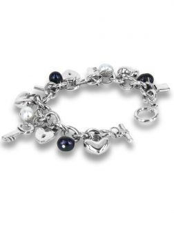 PACIFIC PEARLS ROSE ATOLL COLLECTION Black and Gray Baroque Pearl Charm Bracelet