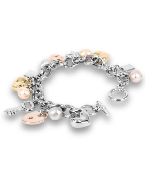 PACIFIC PEARLS ROSE ATOLL COLLECTION Pastel Baroque Pearl Charm Bracelet