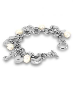 PACIFIC PEARLS ROSE ATOLL COLLECTION White Baroque Pearl Charm Bracelet