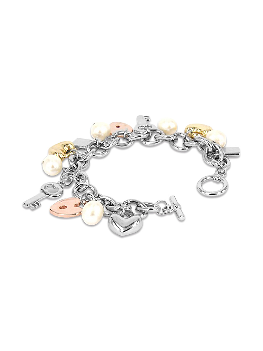 PACIFIC PEARLS ROSE ATOLL COLLECTION White Baroque Pearl Gold-Tone Charm Bracelet