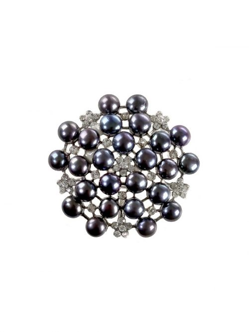 PACIFIC PEARLS TARA ISLAND COLLECTION Black Pearl Pendant and Brooch Set