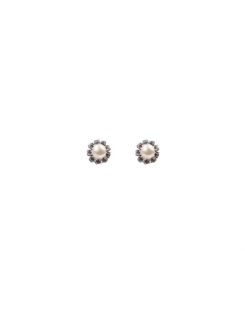 PACIFIC PEARLS TARA ISLAND COLLECTION Diamond Encrusted White Pearl Stud Earrings