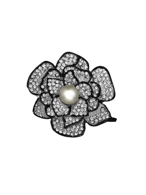 PACIFIC PEARLS TARA ISLAND COLLECTION Hibiscus Diamond Encrusted Pearl Brooch