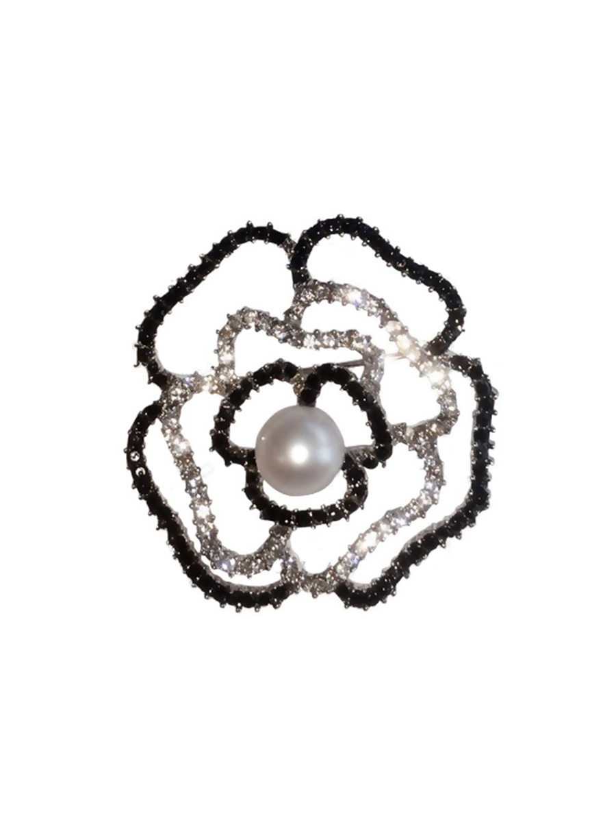 PACIFIC PEARLS TARA ISLAND COLLECTION Orchid Diamond Encrusted Pearl Brooch