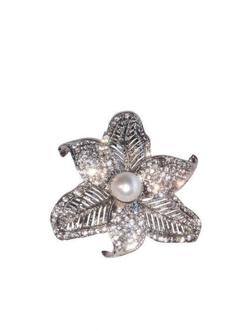 PACIFIC PEARLS TARA ISLAND COLLECTION Tiger Lily Diamond Encrusted Pearl Brooch