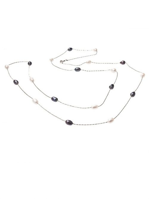 PACIFIC PEARLS TERAINA COVE COLLECTION Double Strand Black and White Pearl Necklace