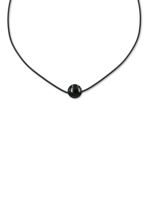 PACIFIC PEARLS VANUATU COLLECTION Black 11-12mm Pearl Pendant on Leatherette