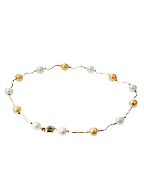 PACIFIC PEARLS VANUATU COLLECTION Gold and White 10.5-11.5mm Pearl Necklace