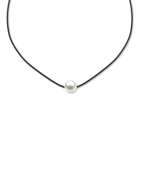 PACIFIC PEARLS VANUATU COLLECTION White 11-12mm Pearl Pendant on Leatherette