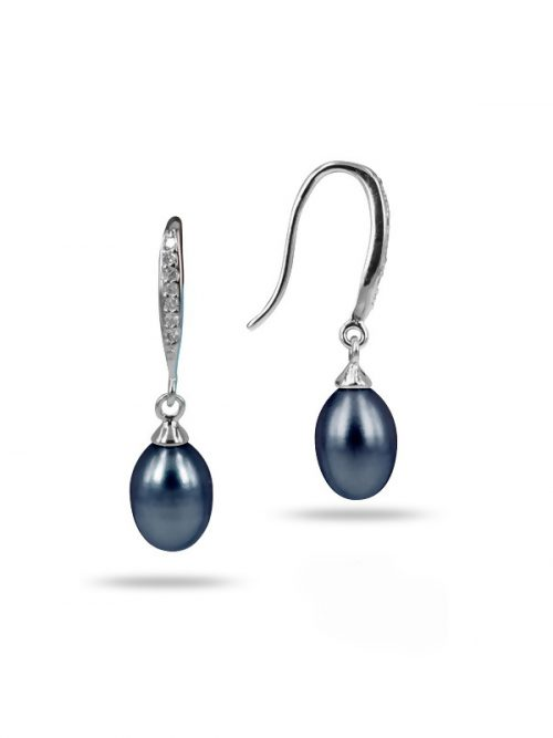 SULU SEA COLLECTION BLACK DIAMOND DROP 9.5-10.5MM PEARL EARRINGS