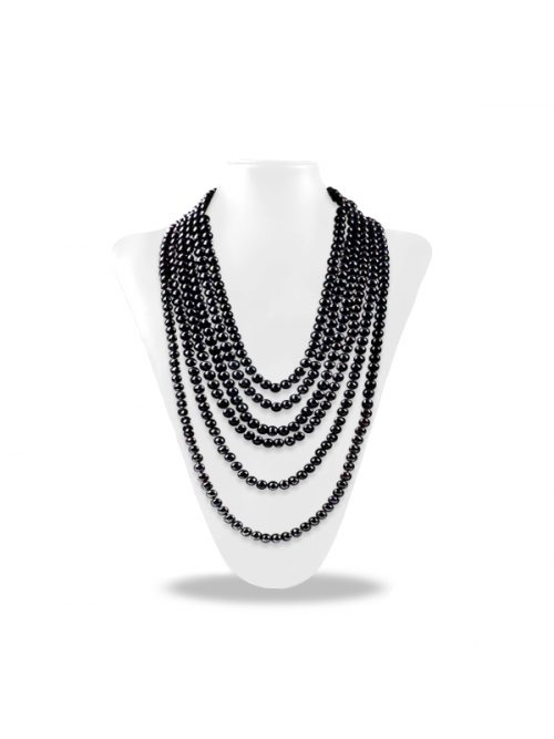 PACIFIC PEARLS SOCIETY ISLANDS COLLECTION Black 180 Inch Pearl Necklace