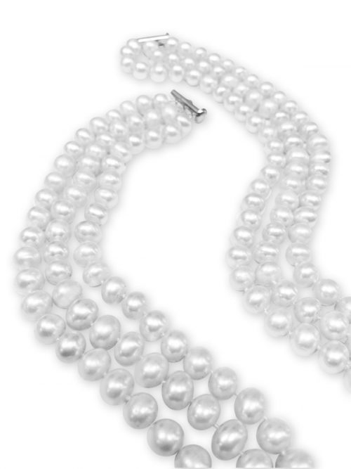TARA ISLAND COLLECTION TRIPLE STRAND 8-9MM PEARL NECKLACE