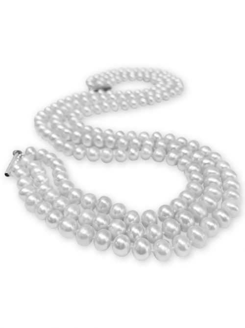 TARA ISLAND COLLECTION TRIPLE STRAND 8-9MM WHITE PEARL NECKLACE