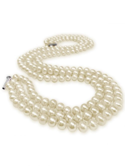 PACIFIC PEARLS TARA ISLAND COLLECTION White Triple-Strand Pearl Necklace