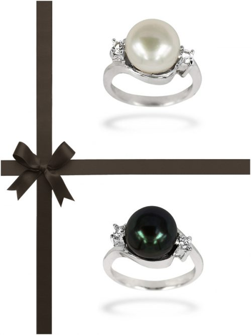BORA BORA COLLECTION DIAMOND ENCRUSTED PEARL RING, PENDANT AND EARRING GIFT SET