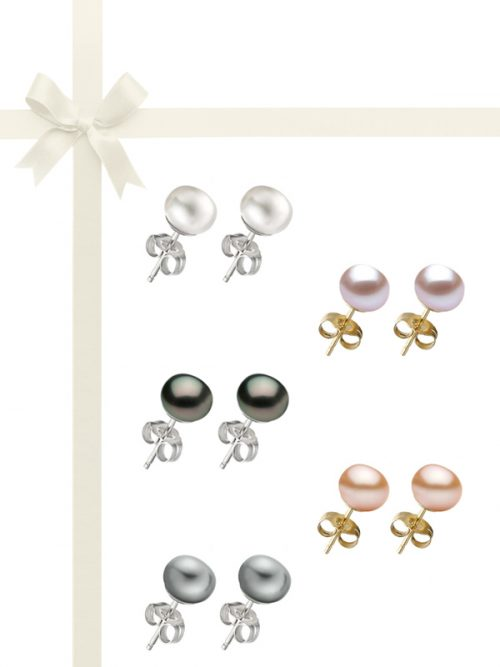 PACIFIC PEARLS BORA BORA COLLECTION Five-Piece 10-11mm Pearl Stud Earring Gift Set
