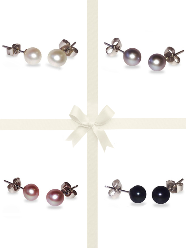 PACIFIC PEARLS BUA BAY COLLECTION Four-Piece Stud Earring Gift Set