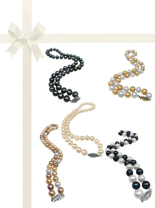 PACIFIC PEARLS MARIA-THERESA REEF COLLECTION 9-10mm Pearl Necklace Gift Set