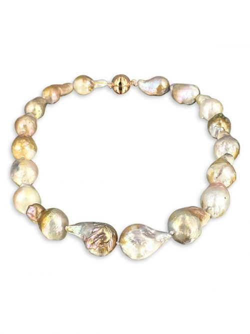 POLYNESIA COLLECTION 15-20mm Pink Champagne Giant Baroque Pearl Necklace