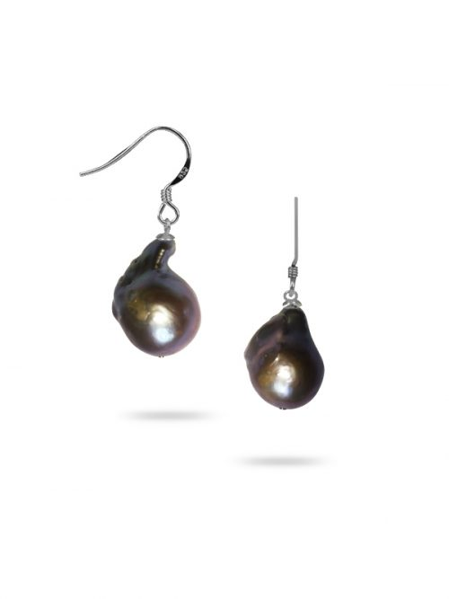POLYNESIA COLLECTION 15MM METALLIC GRAY BAROQUE PEARL EARRINGS