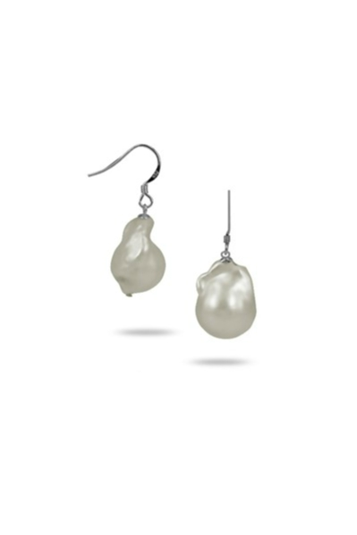POLYNESIA COLLECTION 15MM WHITE BAROQUE PEARL EARRINGS